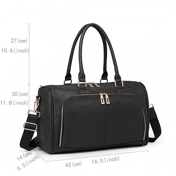 LT6638 - Miss Lulu Leather Look Maternity Changing Shoulder Bag Black
