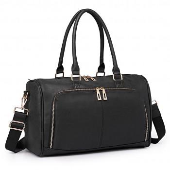 LT6638 - Miss Lulu Leather Look Maternity Changing Shoulder Bag Black
