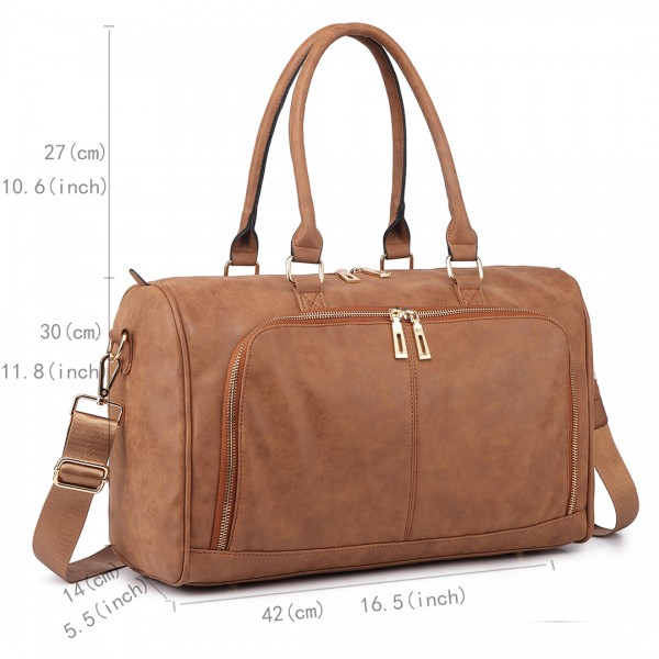 LT6638 - Miss Lulu Leather Look Maternity Changing Shoulder Bag Brown