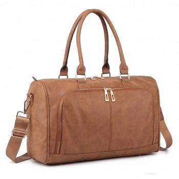 LT6638 - Miss Lulu Leather Look Maternity Changing Shoulder Bag Brown