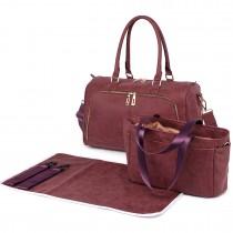 LT6638 - Miss Lulu Leather Look Maternity Changing Shoulder Bag Red