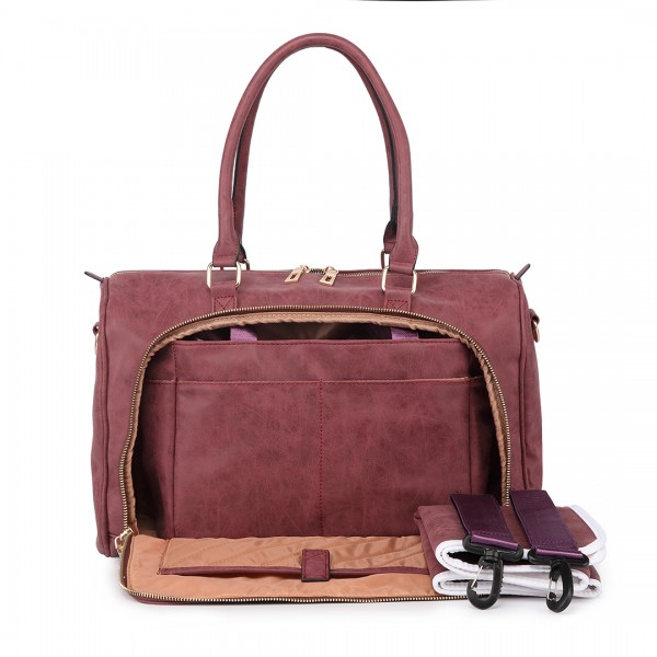 LT6638 - Miss Lulu Leather Look Maternity Changing Shoulder Bag Red