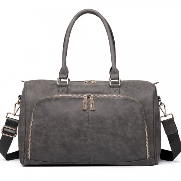 LT6638 - Miss Lulu Leather Look Maternity Changing Shoulder Bag Grey