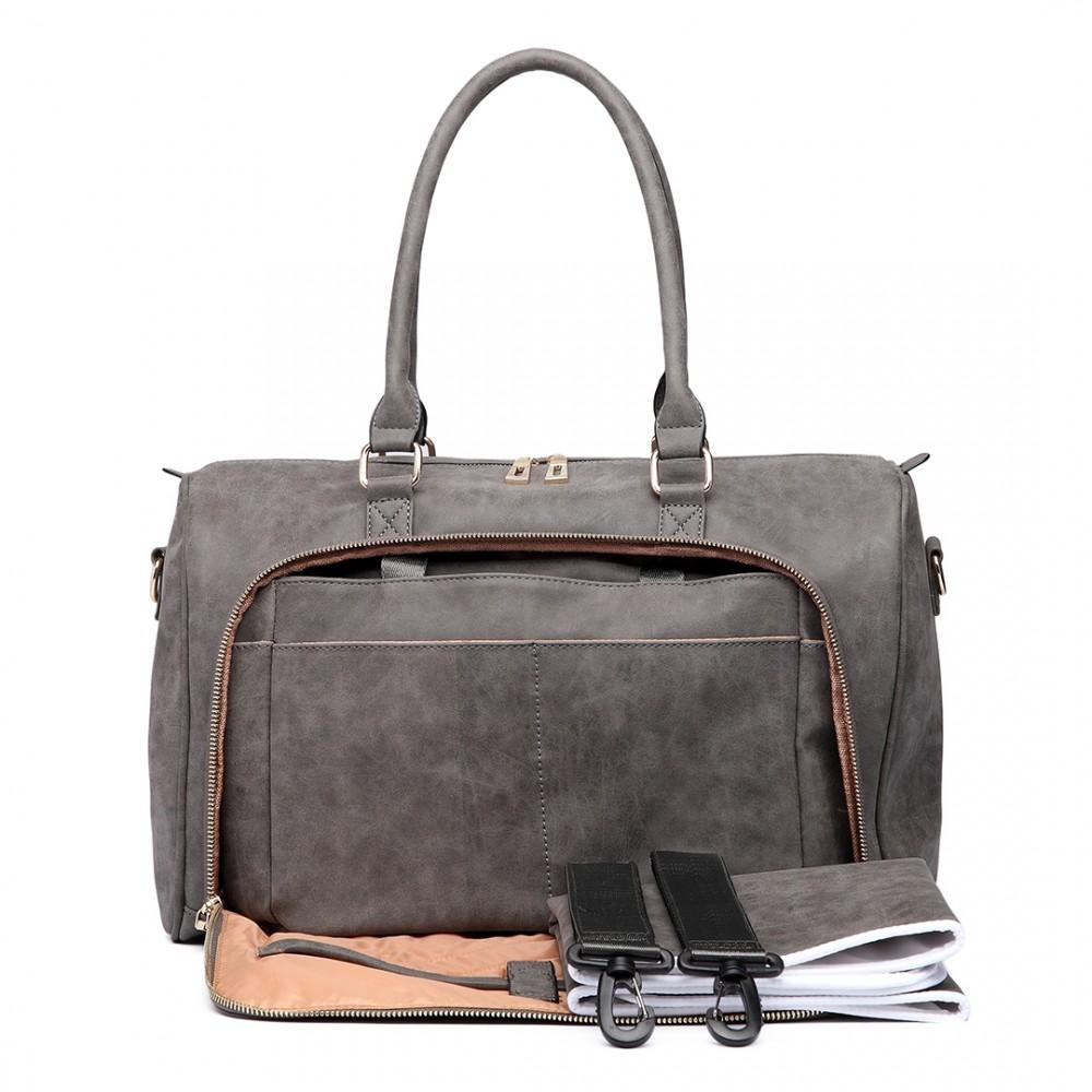 271dd5e9113d0 LT6638 - Miss Lulu Leather Look Maternity Changing Shoulder Bag Grey
