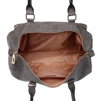 LT6638 - Miss Lulu Leather Look Maternity Changing Shoulder Bag Grey