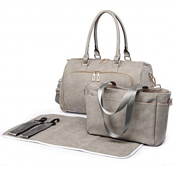 LT6638 - Miss Lulu Leather Look Maternity Changing Shoulder Bag Light Grey