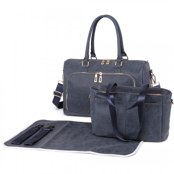 LT6638 - Miss Lulu Leather Look Maternity Changing Shoulder Bag Navy