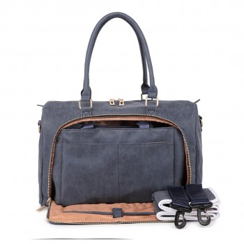 LT6638 - Miss Lulu Leather Look Maternity Changing Shoulder Bag Navy