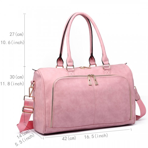 LT6638 - Miss Lulu Leather Look Maternity Changing Shoulder Bag Pink