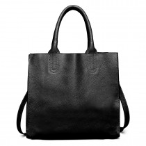 LT6639 - Miss Lulu Real Leather Square Shoulder Bag Black