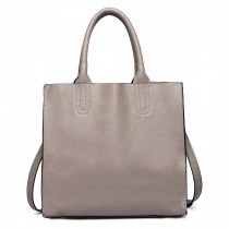 LT6639 - Miss Lulu Real Leather Square Shoulder Bag Grey