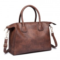 LT6646 - Miss Lulu Classic Shoulder Bag Brown