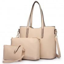 LT6648 - Miss Lulu Three Piece Tote Shoulder Bag And Clutch Beige