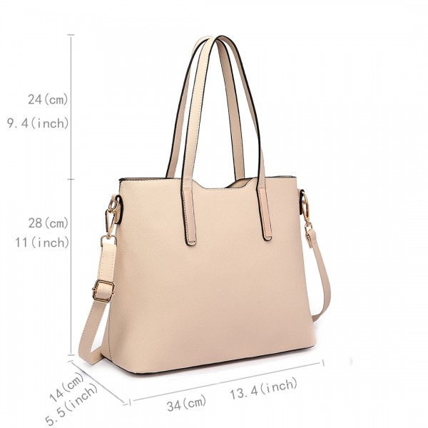 LT6648 - Miss Lulu Three Piece Tote Shoulder Bag And Clutch Beige