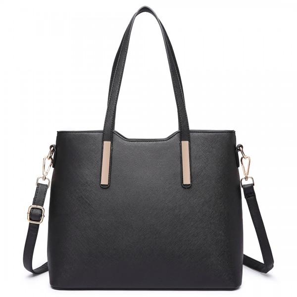 LT6648 - Miss Lulu Three Piece Tote Shoulder Bag And Clutch Black