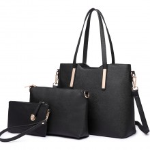 LT6648 - Miss Lulu Three Piece Tote Shoulder Bag And Clutch Black