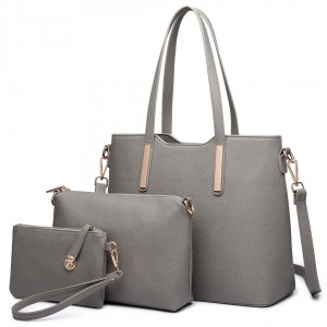 LT6648 - panna Lulu Three Piece Tote Shoulder Bag And Clutch Grey