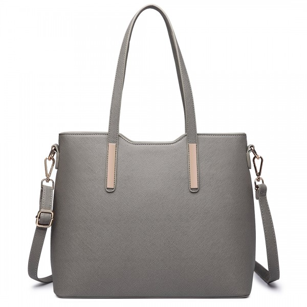 LT6648 - Miss Lulu Three Piece Tote Shoulder Bag And Clutch Grey