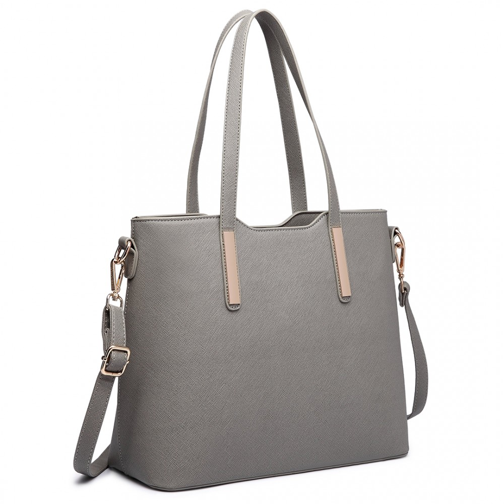 Miss Lulu Three Piece Tote Shoulder Bag And Clutch Grey