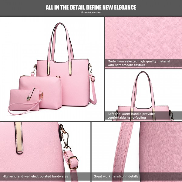 LT6648 - Miss Lulu Three Piece Tote Shoulder Bag And Clutch Light Pink