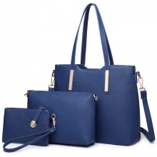 LT6648 - Miss Lulu Three Piece Tote Shoulder Bag And Clutch Navy