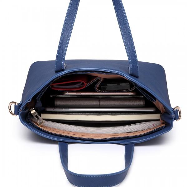 LT6648 - Miss Lulu Three Piece Tote Shoulder Bag And Clutch Navy