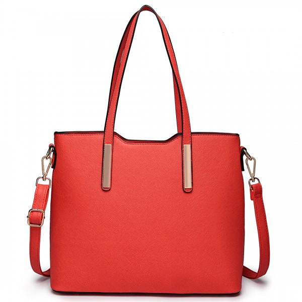 LT6648 - Miss Lulu Three Piece Tote Shoulder Bag And Clutch Red