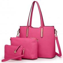 LT6648 - Miss Lulu Three Piece Tote Shoulder Bag And Clutch Rose