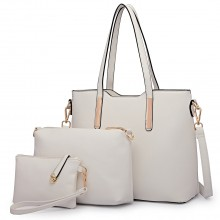 LT6648 - Miss Lulu Three Piece Tote Shoulder Bag And Clutch White