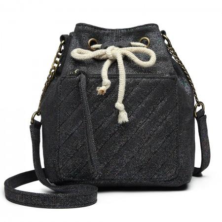 LT6812-MISS LULU CANVAS LOOK COLORFUL SHOULDER BAG BLACK