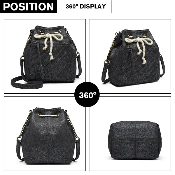 LT6812 - Miss Lulu Sparkle Canvas Drawstring Cross Body Bag - Black