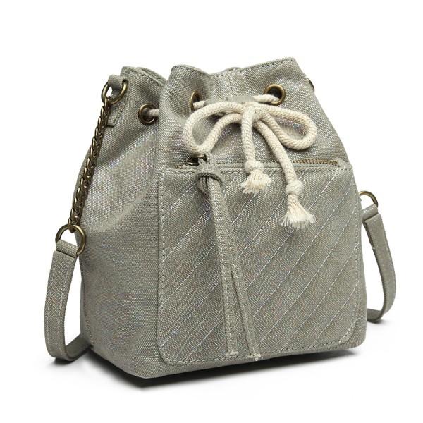 LT6812 - Miss Lulu Sparkle Canvas Drawstring Cross Body Bag - Grey