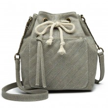 LT6812-MISS LULU CANVAS LOOK COLORFUL SAC D'ÉPAULE GRIS