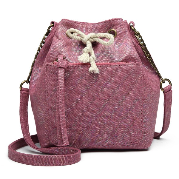 LT6812 - Miss Lulu Sparkle Canvas Drawstring Cross Body Bag - Purple