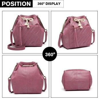 LT6812-MISS LULU CANVAS LOOK COLORFUL SHOULDER BAG PURPLE