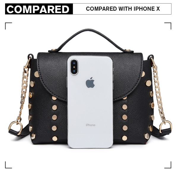 LT6813-MISS LULU FAUX LEATHER STUDDED CROSS BODY TOTE BAG BLACK