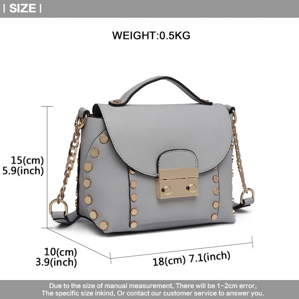 LT6813-MISS LULU FAUX LEATHER STUDDED CROSS BODY TOTE BAG GREY
