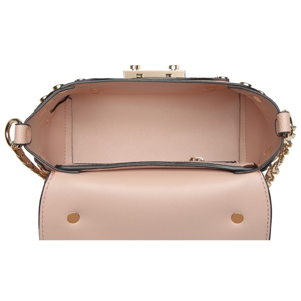 LT6813-MISS LULU FAUX LEATHER STUDDED CROSS BODY TOTE BAG PINK