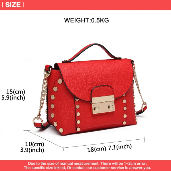 LT6813-MISS LULU FAUX LEATHER STUDDED CROSS BODY TOTE BAG RED