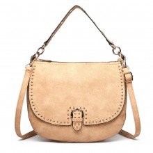 LT6815-MISS LULU FAUX LEATHER STUDDED LARGE HOBO HANDBAGS APRICOT
