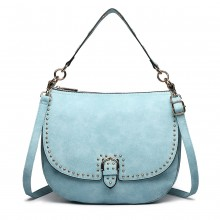 LT6815-MISS LULU FAUX LEATHER STUDDED LARGE HOBO HANDBAGS BLUE