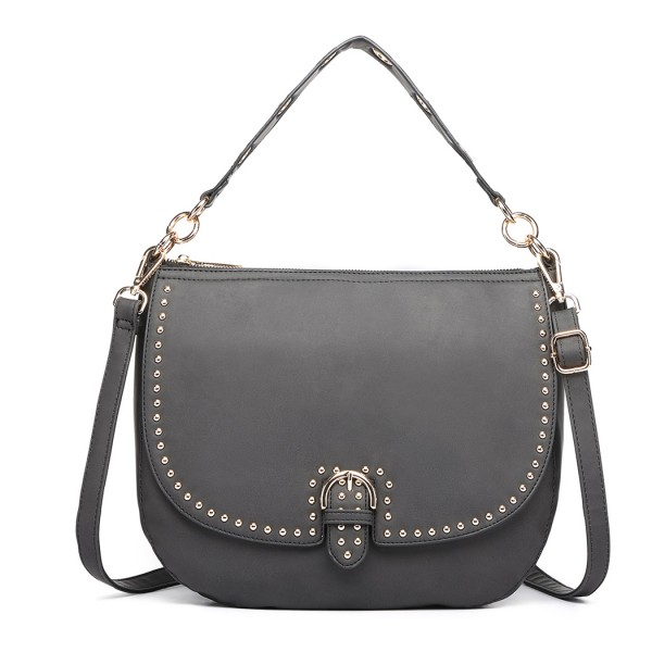 LT6815-MISS LULU FAUX LEATHER STUDDED LARGE HOBO HANDBAGS BLACK