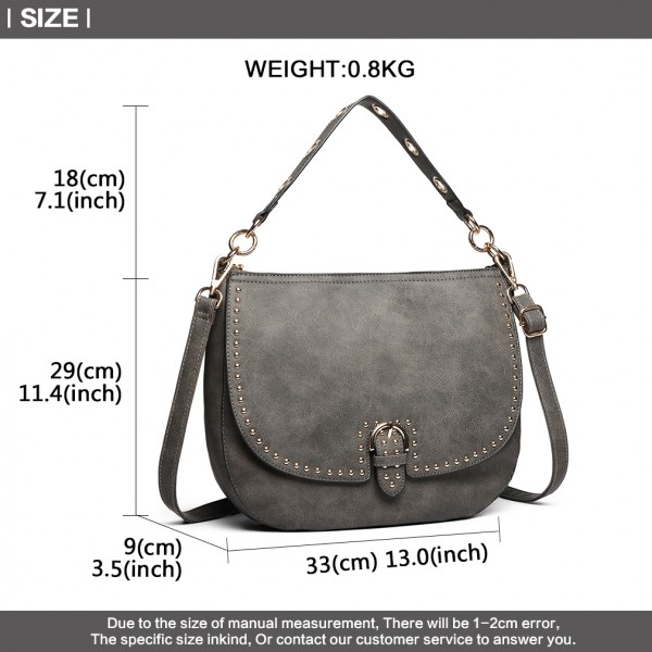 LT6815-MISS LULU FAUX LEATHER STUDDED LARGE HOBO HANDBAGS GREY