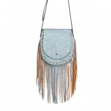 LT6816-MISS LULU SUEDE EFFECT TASSEL CROSS BODY BAG BLUE