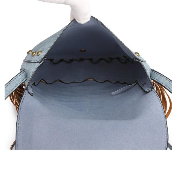 LT6816-MISS LULU SUEDE EFFECT TASSEL CROSS BODY BAG BLUE
