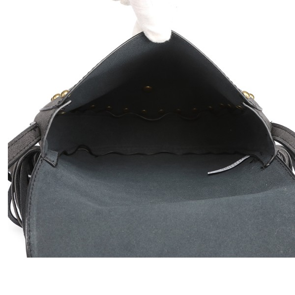 LT6816-MISS LULU SUEDE EFFECT TASSEL CROSS BODY BAG BLACK