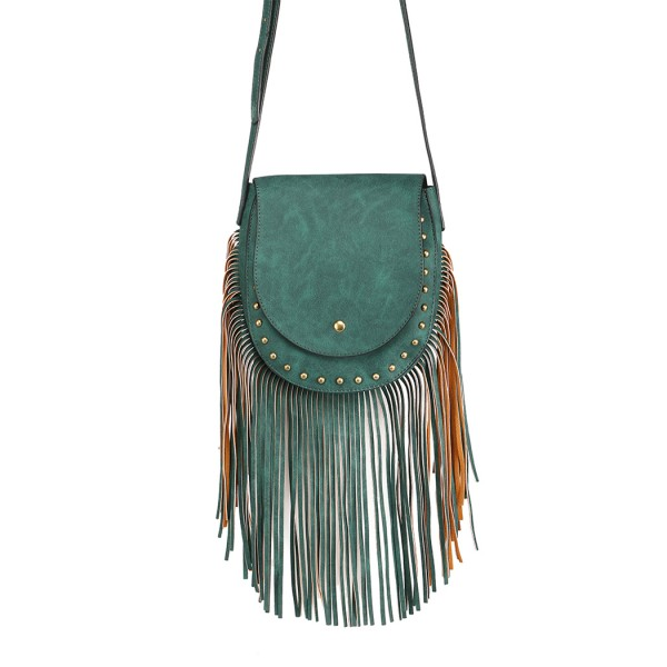 LT6816-MISS LULU SUEDE EFFECT TASSEL CROSS BODY BAG GREEN
