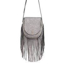 LT6816-MISS LULU SUEDE EFFECT TASSEL CROSS BODY BAG GREY