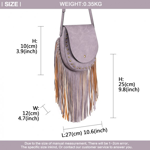 LT6816-MISS LULU SUEDE EFFECT TASSEL CROSS BODY BAG PURPLE