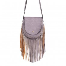 LT6816-MISS LULU SUEDE EFFECT TASSEL CROSS BODY BAG PURPLE